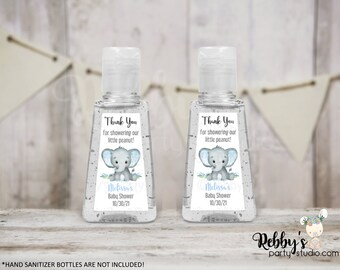 Elephant Boy Personalized Thank You Baby Shower Triangular Hand Sanitizer Labels, Personalized Favor Stickers, Baby Shower Stickers