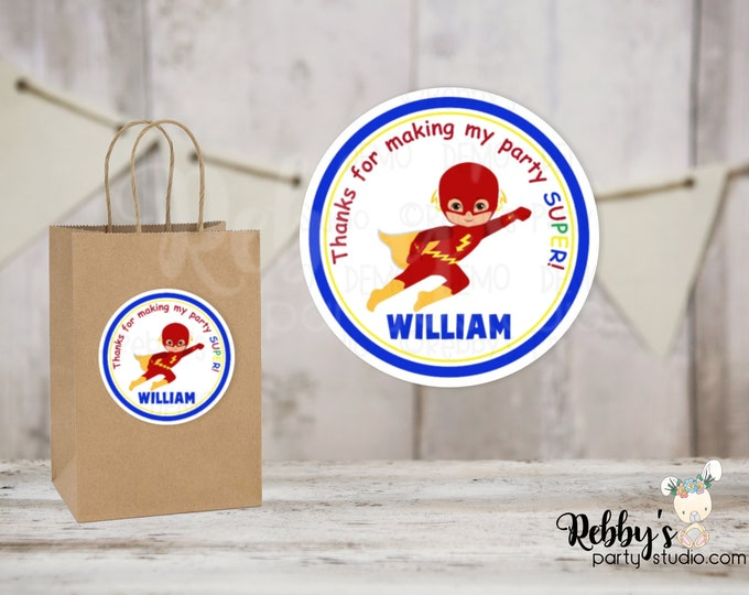 Superhero Flying Flash Boy Round Stickers , Superhero Birthday Party, Personalized Favor Stickers , 10 Different Sizes Available