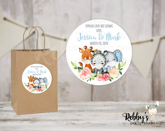 Spread Love Not Germs Blue Safari Baby Shower Round Stickers , Personalized Favor Stickers, 10 Different Sizes Available