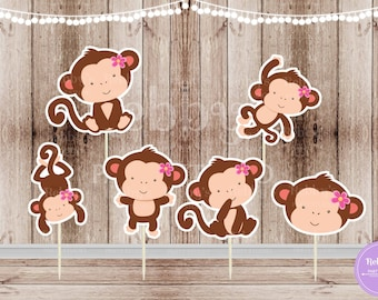 Monkey Girl Party - Set of 12 Assorted Monkey Girls Double Sided Cupcake Toppers