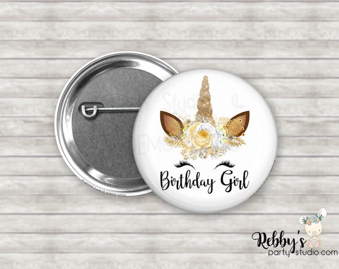 "Unicorn Birthday Girl 2.25"" Button, Birthday Party Favor, Birthday Pin Buttons D6163"