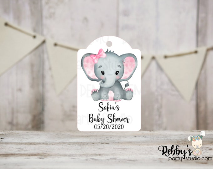 Set of 12 Girl Elephant Baby Shower Tags, Baby Shower Party Favor Tags, Thank You Tags, 3 different sizes
