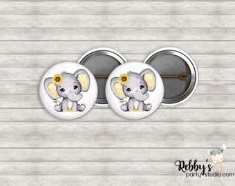 """Sunflower Yellow Elephant 1"""" inch Mini Buttons - Mini Pin Back Buttons - Baby Shower Favors"""