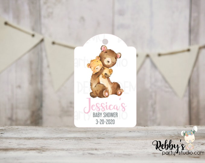 Girl Bear Baby Shower Tags, Baby Shower Party Favor Tags, Mommy and baby Bear, 3 different sizes
