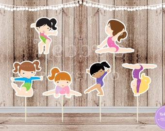 Girls Gymnastics Party - Set of 12 Assorted Girl Gymnast Double Sided Cupcake Toppers