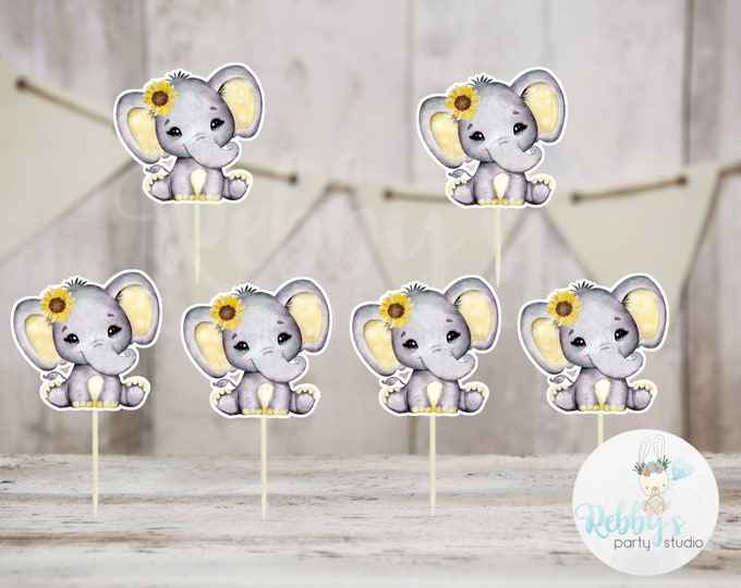 Sunflower Elephant Theme  - Set of 12 Yellow Elephant Baby Shower Cupcake Toppers