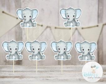 Boy Elephant Theme  - Set of 12 Blue Elephant Baby Shower Cupcake Toppers