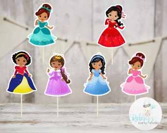 Fairy Tale Party - Set of 12 Assorted Multicultural Princess Cupcake Toppers