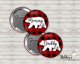 Personalized Buffalo Plaid Bear Pin Buttons, Mommy to be Pin Buttons, Baby Shower Party Favors, Lumberjack Button Pins