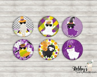 """Halloween Llama 1"""" inch Mini Buttons - Mini Pin Back Buttons - Flat Back Buttons - Party Favors - Hair Bow Centers - Scrapbooking"""