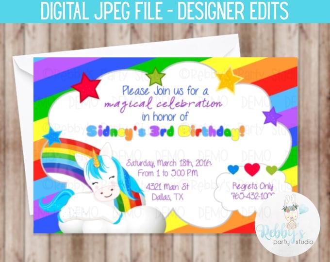 Unicorn Rainbow Birthday Invitation - Digital Printable File Designer Edits