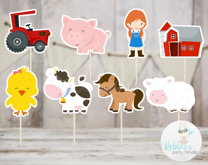 Girl Barnyard Theme Party - Set of 16 Assorted Farm Animals Cupcake Toppers #153
