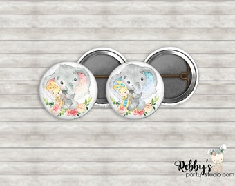 """Elephant with Teddy Gender Reveal 1"""" inch Mini Buttons - Mini Pin Back Buttons - Baby Shower Favors"""