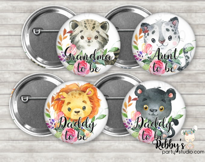 Wild Cats Baby Shower Pin Buttons, Mommy to be Pin Buttons, Personalized Pin Buttons,  Flower Cubs Button Badges
