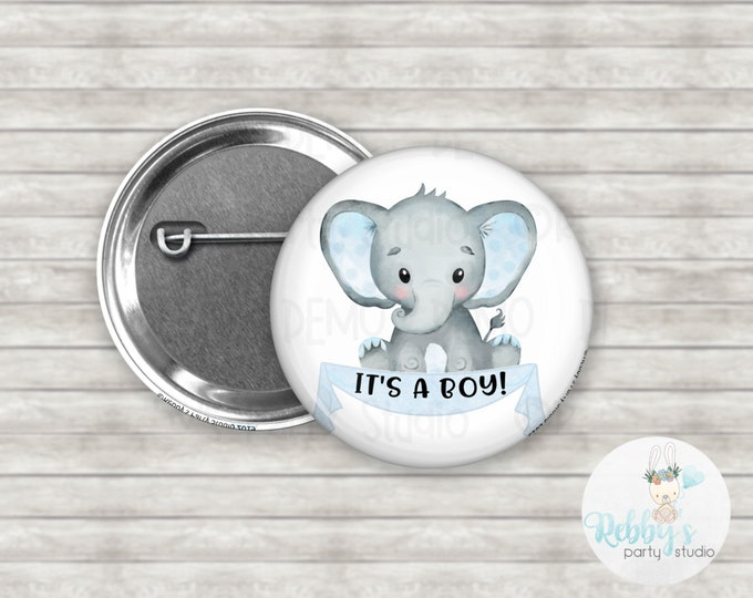 Baby Boy Elephant It's a Boy Pin Back Button, Baby Shower Pin Buttons , Announcement Baby Button Pins