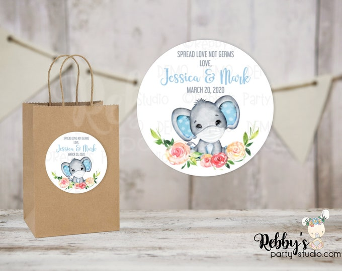 Spread Love Not Germs Blue Elephant Baby Shower Round Stickers , Personalized Favor Stickers, 10 Different Sizes Available