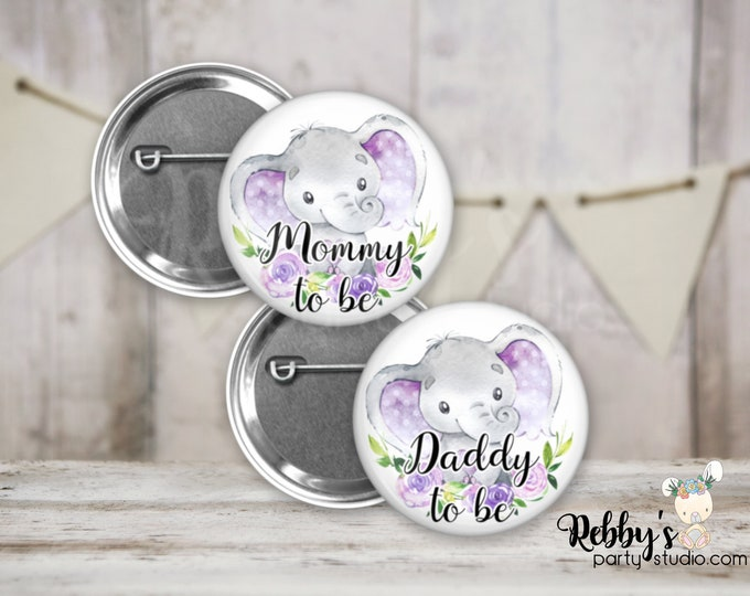 Purple Heart Elephant Girl Baby Shower Badges, Mommy to be Pin Buttons, Name Badge Pin Buttons, Family Name Tags, Birthday Button Badges