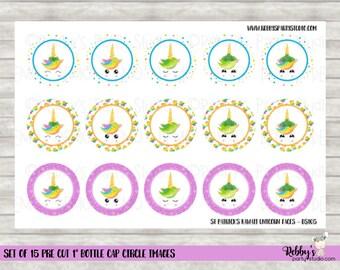 """Set of 15 St Patrick's Day Kawaii Unicorns Pre Cut 1"""" Bottle Cap Circle Images DS105"""