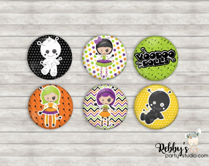 """VooDoo Dolls 1"""" inch Mini Buttons - Mini Pin Back Buttons - Flat Back Buttons - Party Favors - Hair Bow Centers - Scrapbooking"""