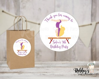 Gymnastic Girl Personalized Birthday Party Round Stickers , Personalized Favor Stickers , Gymnastic Stickers , 10 Different Sizes Available