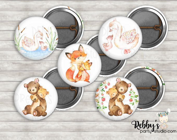 """Mother and Baby Woodland Assorted 1"""" inch Mini Buttons - Mini Pin Back Buttons - Flat Back Buttons - Party Favors - Baby Shower Favors"""