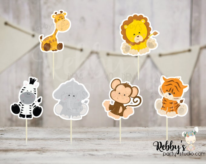 Baby Safari Party - Set of 12 Assorted Baby Safari Animals Cupcake Toppers