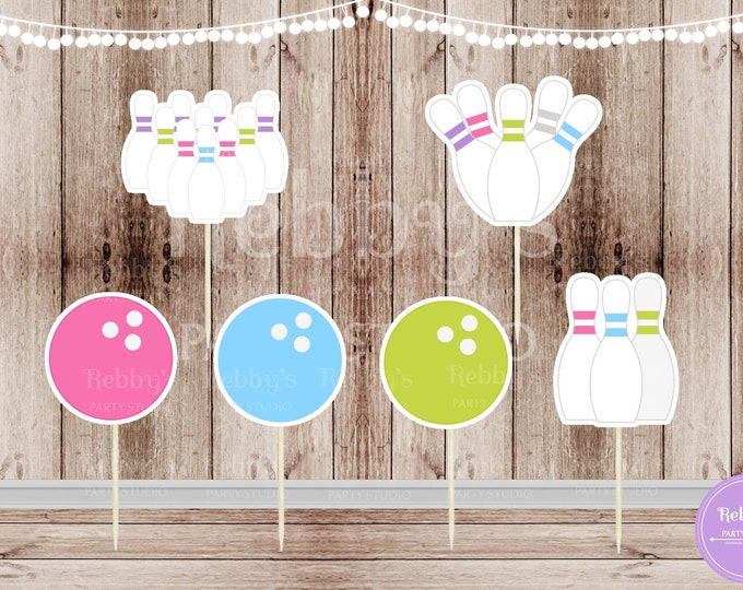 Girl Bowling Party - Set of 12 Assorted Girl Bowling Cupcake Toppers