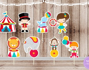 Circus Theme Party - Set of 16 Assorted Circus Double Sided Cupcake Toppers