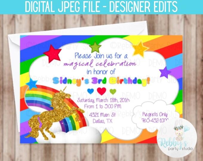 Gold Unicorn Rainbow Birthday Invitation - Digital Printable File Designer Edits