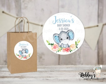 Quarantine Blue Elephant Baby Shower Round Stickers , Personalized Favor Stickers , Baby Shower Stickers , 10 Different Sizes Available