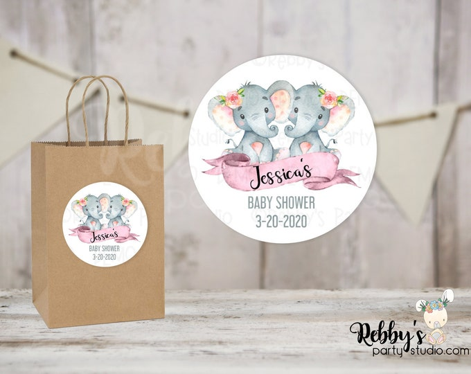 Twin Girls Elephant Personalized Baby Shower Round Stickers, Personalized Favor Stickers, Baby Shower Stickers, 10 Different Sizes Available