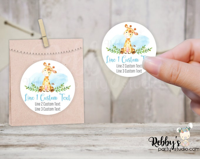 Giraffe Personalized Baby Shower Round Stickers, Pale Blue, Jungle Party Stickers, Goody Bag Stickers, 10 Different Sizes Available