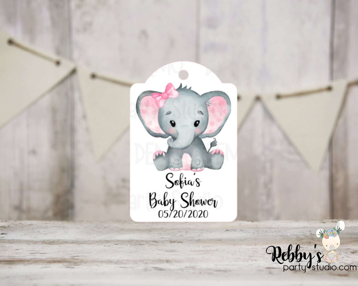 4 Elephant Tags Gift Tags Cute Elephant Tags Party Tags Set of 6 Birthday Tags Baby Tags