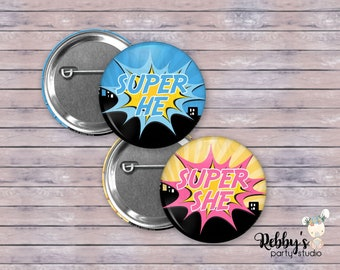 """Set of 20 Gender Reveal Button Pins , 2.25"""" Super He and Super She Pop Art Pin Back Buttons, Superhero Baby Shower Party"""