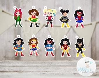 Superhero Girl Party - Set of 20 Assorted Superhero Girls Inspired Favor Tags