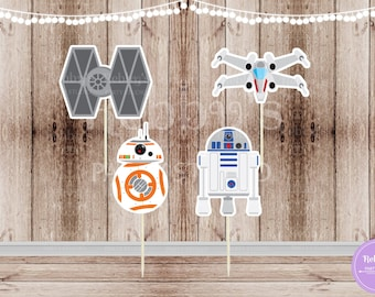 Space Wars Force Party - Set of 12 Assorted Droids Inspired Double Sided Cupcake Toppers