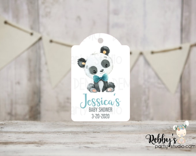 Boy Panda Baby Shower Tags, Baby Shower Party Favor Tags, 3 different sizes