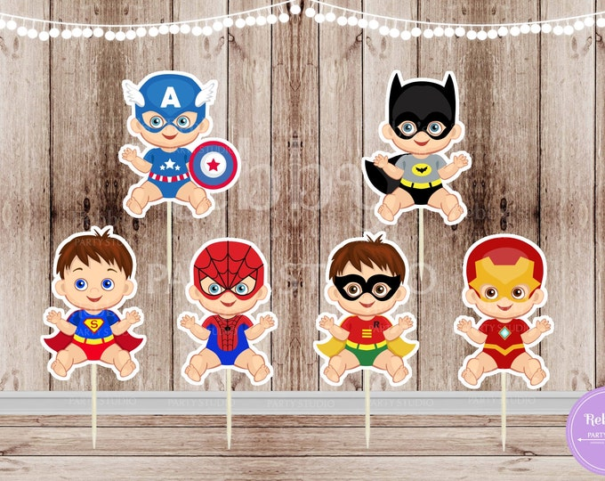 Baby Boy Superhero Party - Set of 12 Assorted Superhero Baby Boys Inspired Cupcake Toppers
