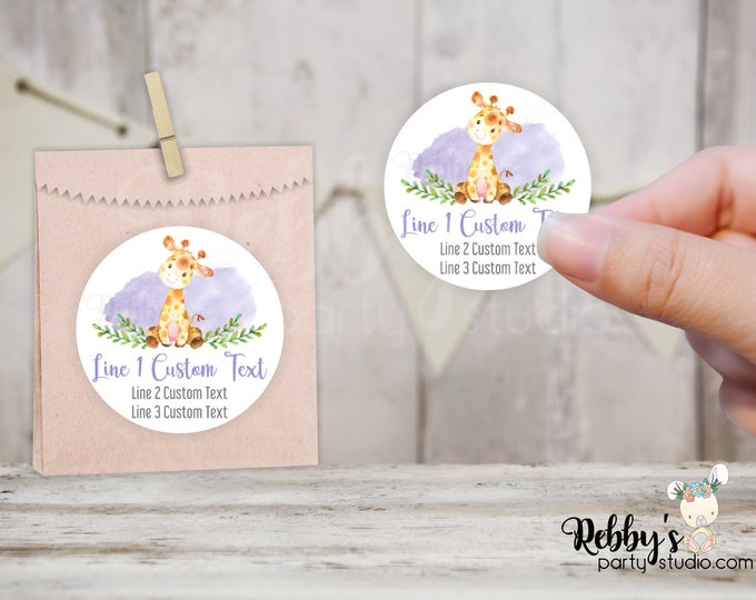 Giraffe Personalized Baby Shower Round Stickers, Purple, Jungle Party Stickers, Goody Bag Stickers, 10 Different Sizes Available