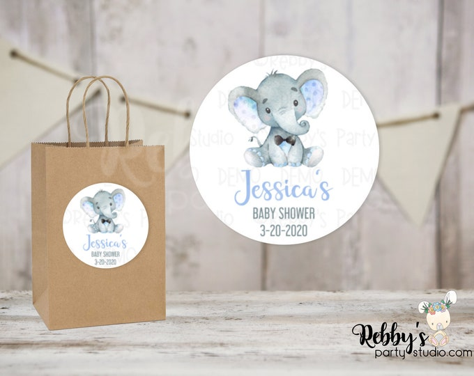 Blue Elephant with Tie Personalized Baby Shower Round Stickers , Personalized Stickers , Baby Shower Stickers , 10 Different Sizes Available