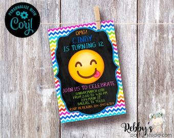 Emoji Chalkboard Birthday Invitation - Instant Access - Edit Yourself Online with Corjl