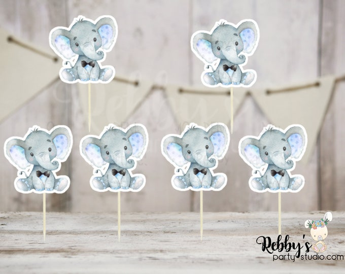 Boy Elephant Theme  - Set of 12 Blue Elephant with Tie Baby Shower Cupcake Toppers
