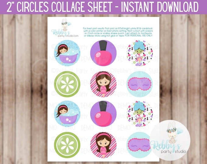 """Spa Party Theme - 2"""" inch Circles Cupcake Toppers Collage Sheet - Instant Download #02"""
