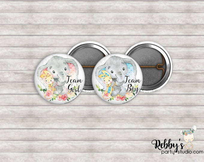 """Set of 10 Elephant with Teddy Gender Reveal 1"""" inch Mini Buttons - Mini Pin Back Buttons - Baby Shower Favors - Team Boy - Team Girl"""