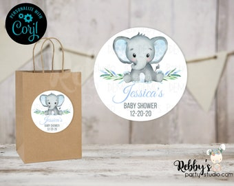 Blue Boy Elephant Editable Baby Shower Favor Tags, 2 inch Round Stickers, Corjl Instant Access Editable Round Favor Tags
