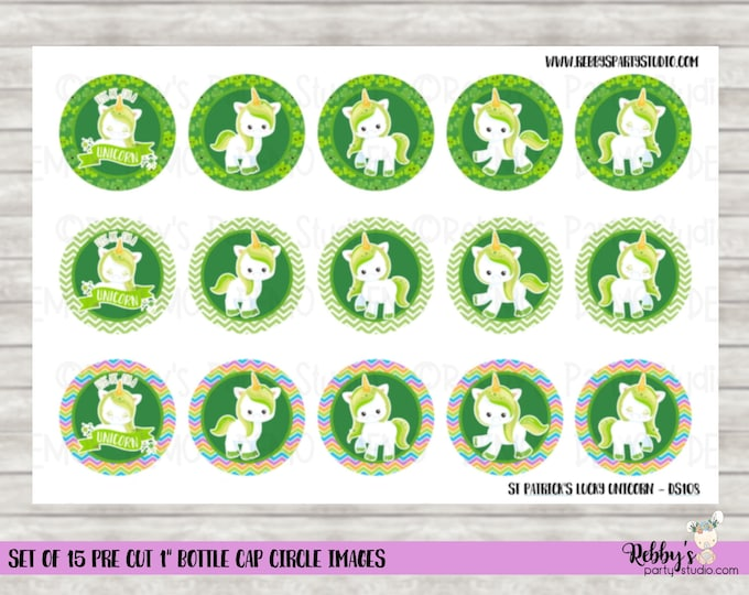 "Set of 15 St Patrick's Day Lucky Unicorn Pre Cut 1"" Bottle Cap Circle Images DS108"