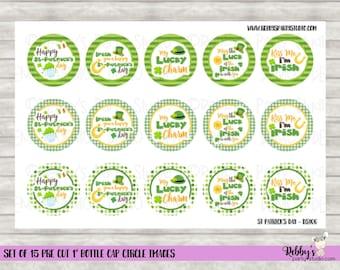 """Set of 15 St Patrick's Day Pre Cut 1"""" Bottle Cap Circle Images DS106"""