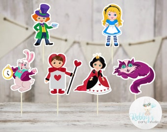 Alice and Friends Party - Set of 12 Assorted Alice in Wonderland Inspired Cupcake Toppers