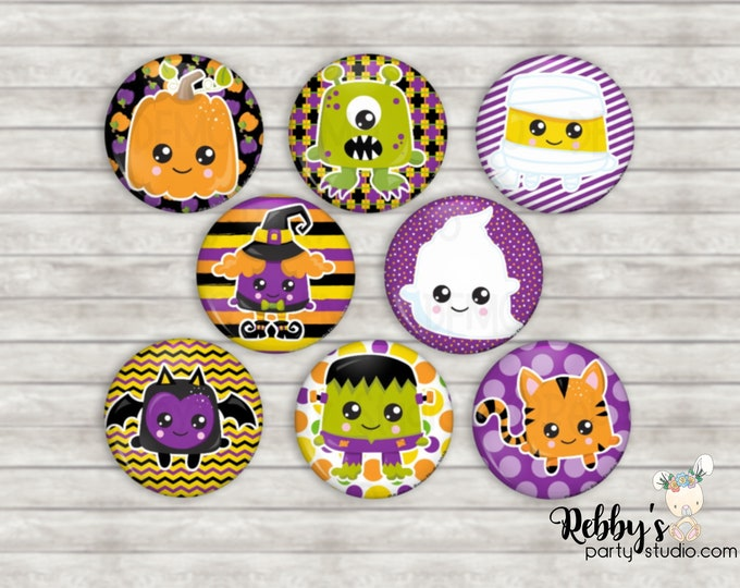 """Kawaii Halloween 1"""" inch Mini Buttons Series 1 - Mini Pin Back Buttons - Flat Back Buttons - Party Favors - Hair Bow Centers - Scrapbooking"""