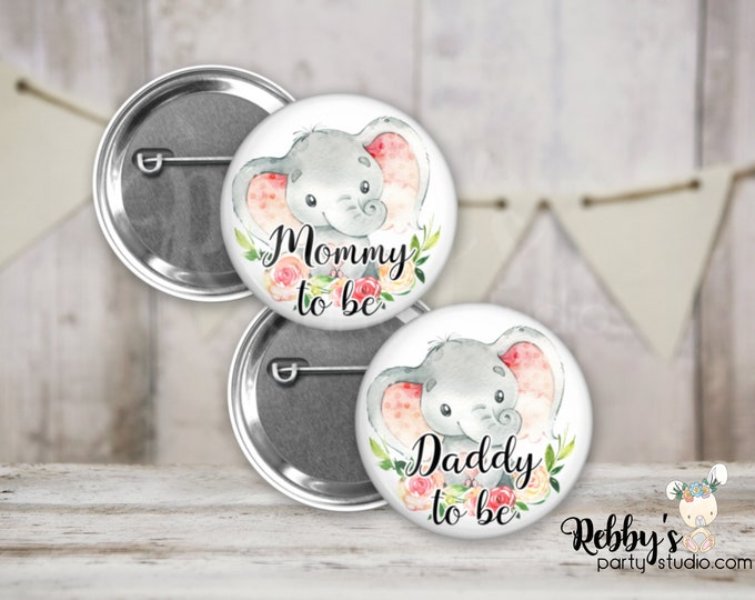 Pink Heart Elephant Girl Baby Shower Badges, Mommy to be Pin Buttons, Name Badge Pin Buttons, Family Name Tags, Birthday Button Badges